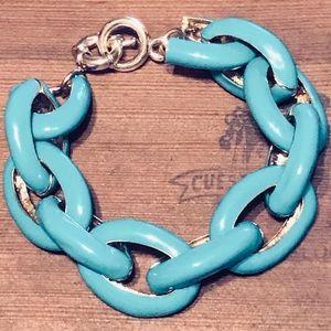 Enameled Turquoise Gilded Gold Chain Link Bracelet
